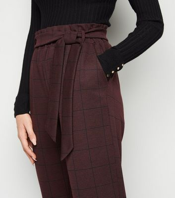 Burgundy Check High Tie Waist Trousers New Look