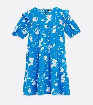 Blue Floral Ruffle Sleeve Tiered Mini Dress New Look