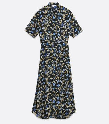 Navy Floral Midi Shirt Dress New Look