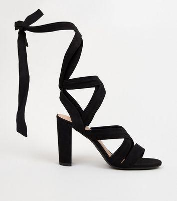 Black Suedette Ankle Tie Block Heels New Look