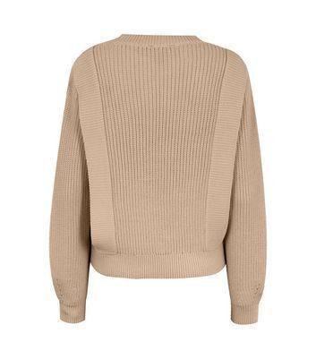 Camel Pointelle Knit Jumper New Look
