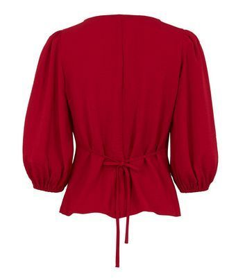 Red Puff Sleeve Button Front Tea Blouse New Look