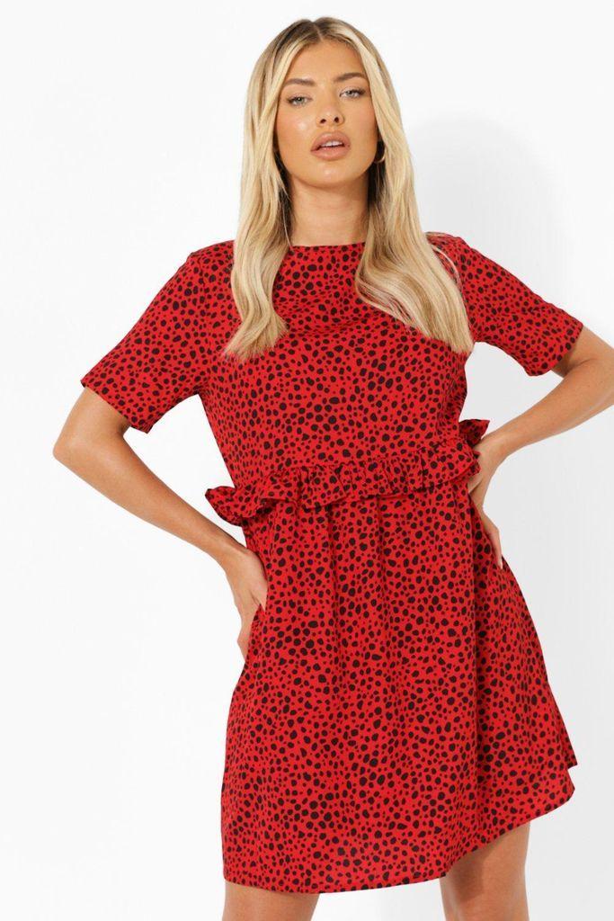 Womens Dalmatian Ruffle Smock Dress - Red - 8, Red