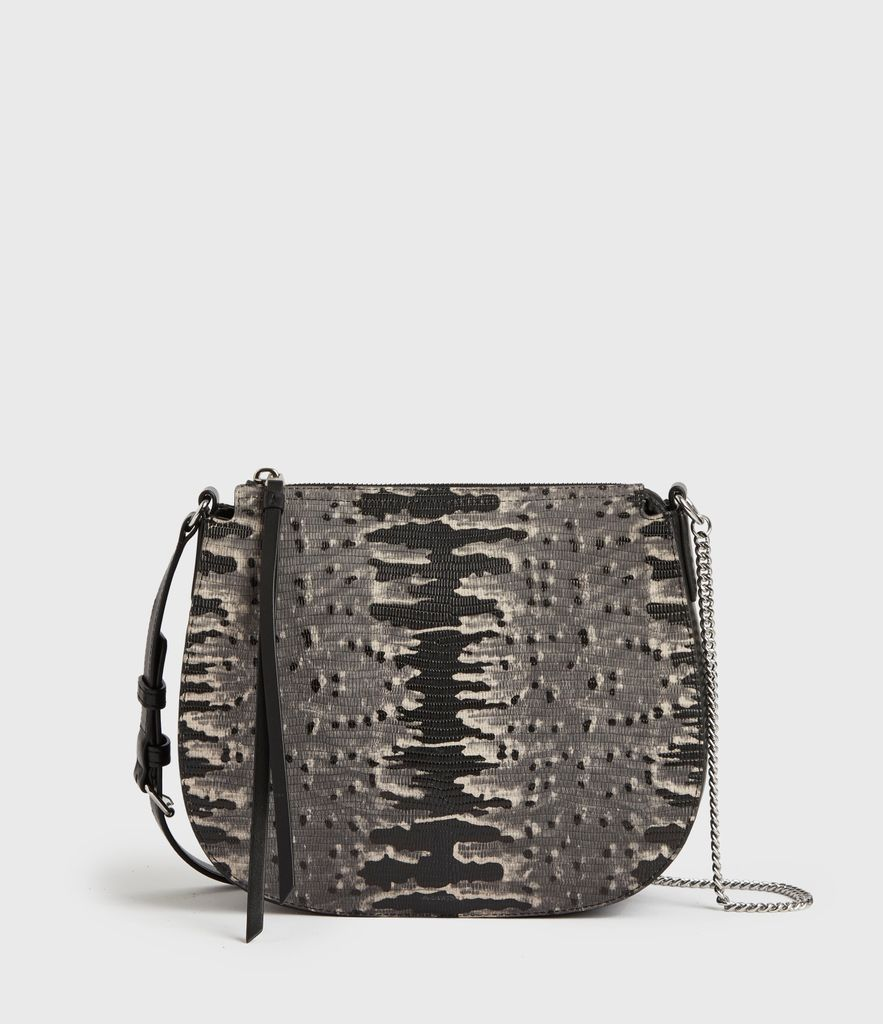 Women's Leather Reptile Print Lightweight Elsworth Round Crossbody Bag, Grey and Black