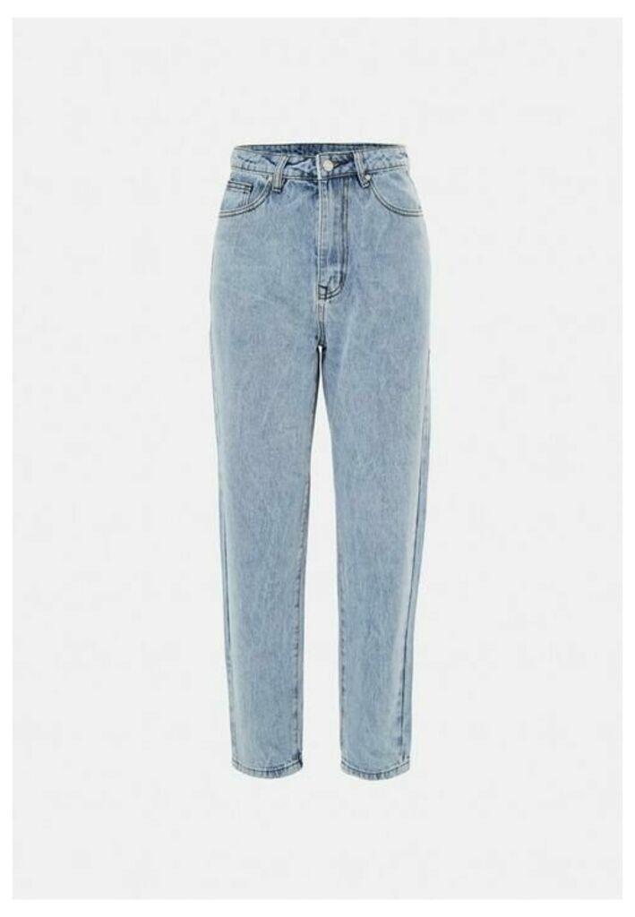 Petite Blue Highwaisted Mom Jeans, Blue