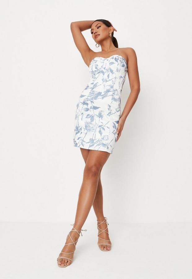 Tall Blue Floral Print Satin Corset Mini Dress, Blue