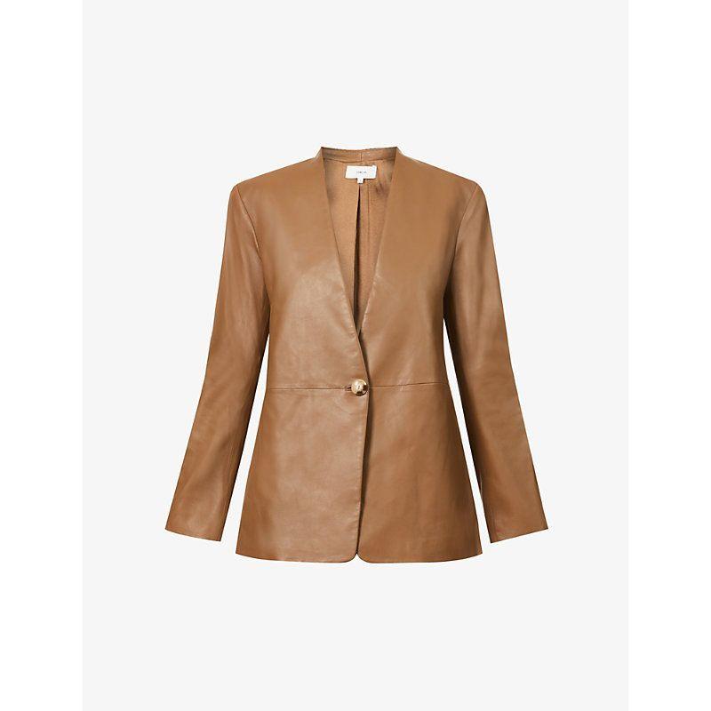 V-neck leather blazer