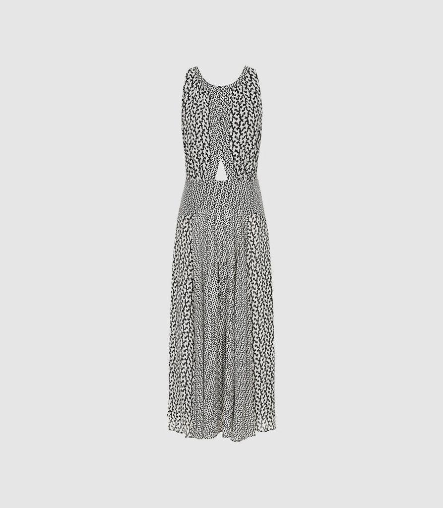 Alexandria - Printed Midi Dress in Black/White, Womens, Size 4