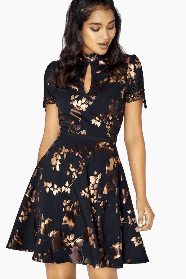 Fifi Gold Foil Prom Dress size: 6 UK, colour: Black