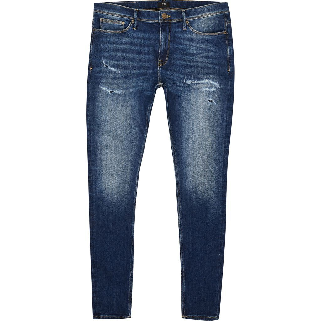 Mens River Island Blue Ollie spray on super skinny jeans