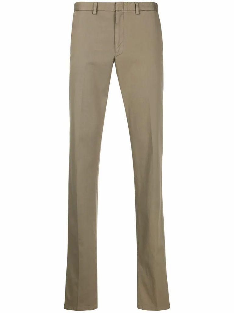 cotton-blend straight-leg chinos