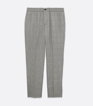 Men's Grey Check Trousers New Look