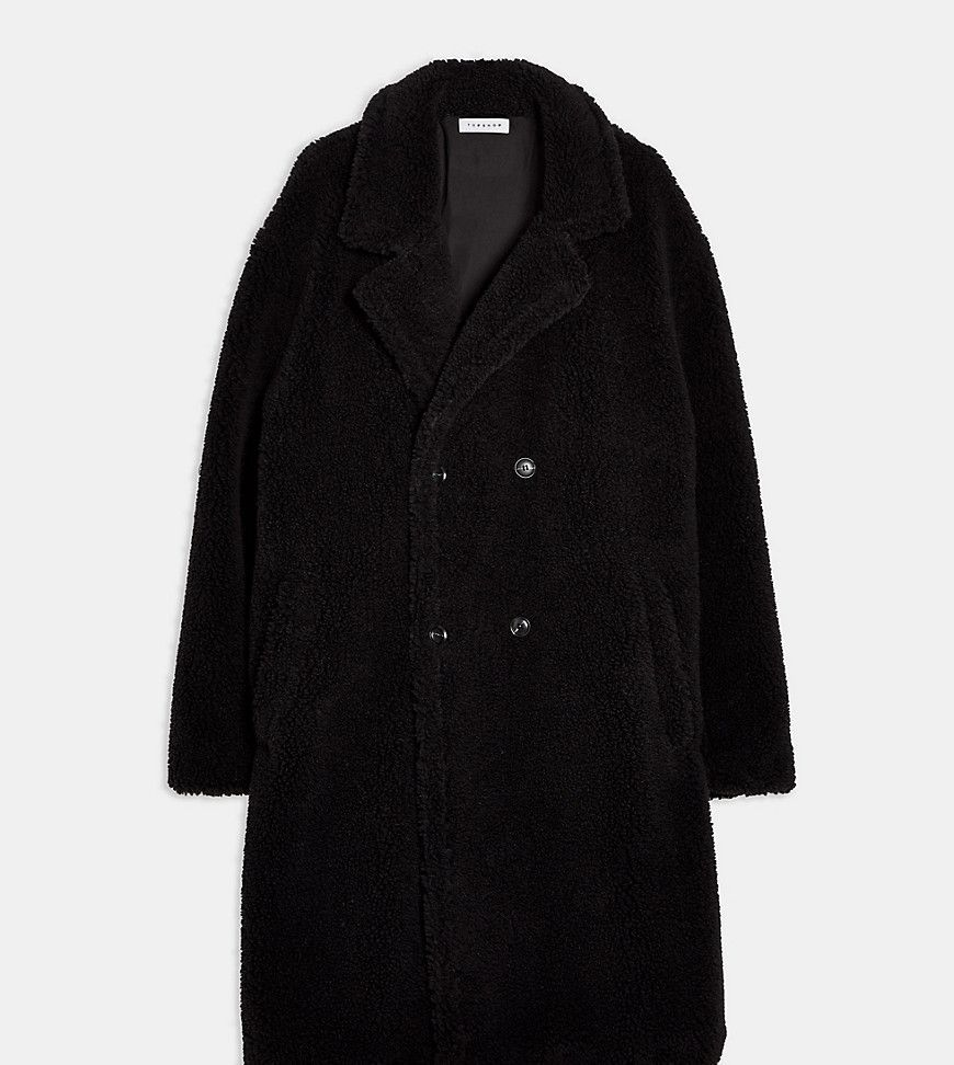 Big & Tall teddy double breasted longline coat in black