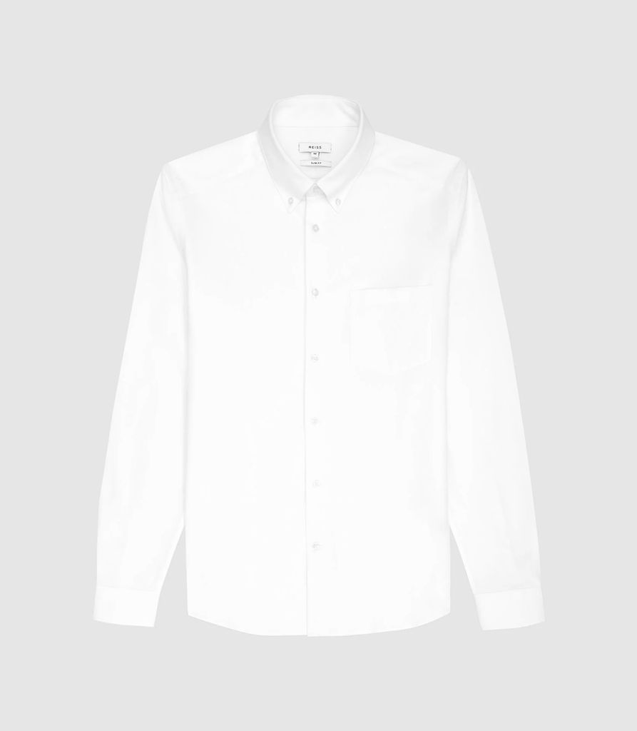 Greenwich - Soft Wash Button Down Oxford Shirt in White, Mens, Size L